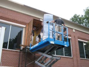 Lifting furniture through windows for office furniture installation