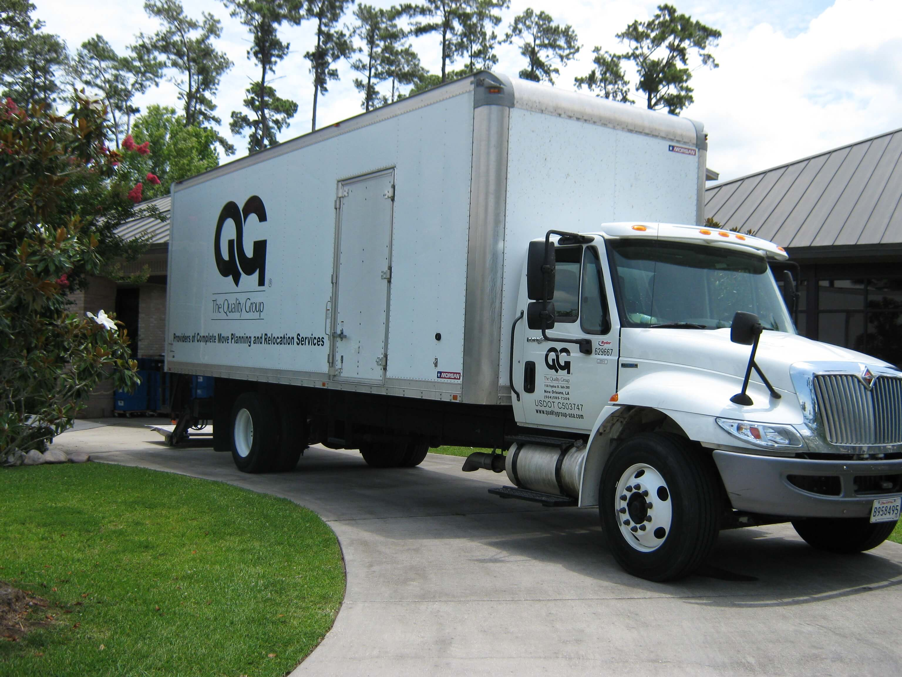 Moving truck of the office moving company, The Quality Group